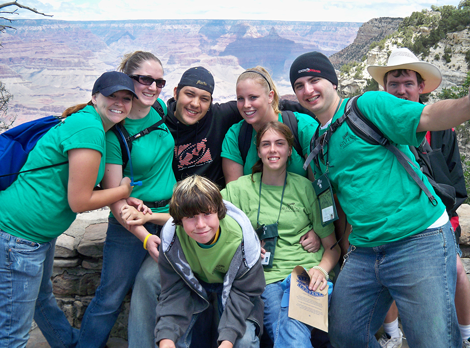 Camp Civitan members smile in front of the Grand Canyon