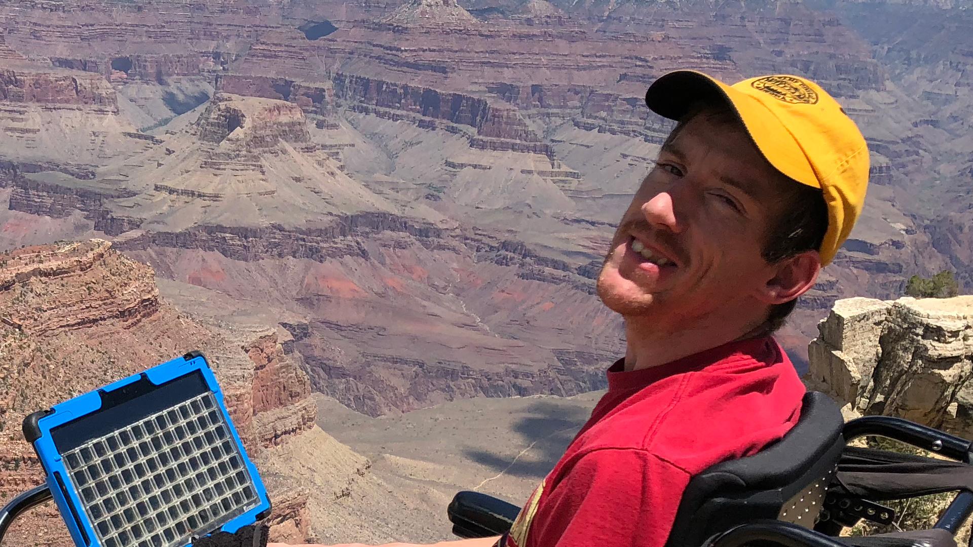 Camp Civitan camper in wheelchair at grand canyon